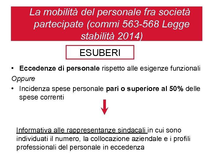 La mobilità del personale fra società partecipate (commi 563 -568 Legge stabilità 2014) ESUBERI