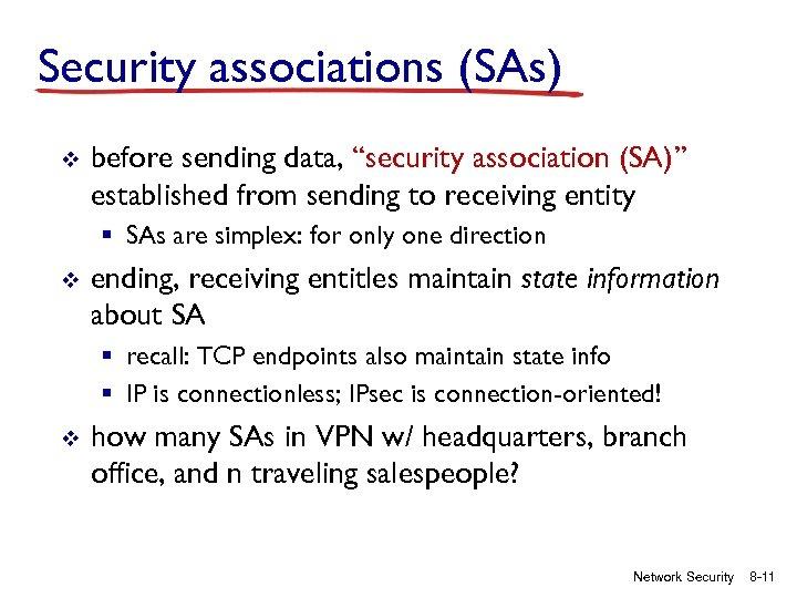 """Security associations (SAs) v before sending data, """"security association (SA)"""" established from sending to"""