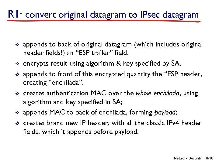 R 1: convert original datagram to IPsec datagram v v v appends to back
