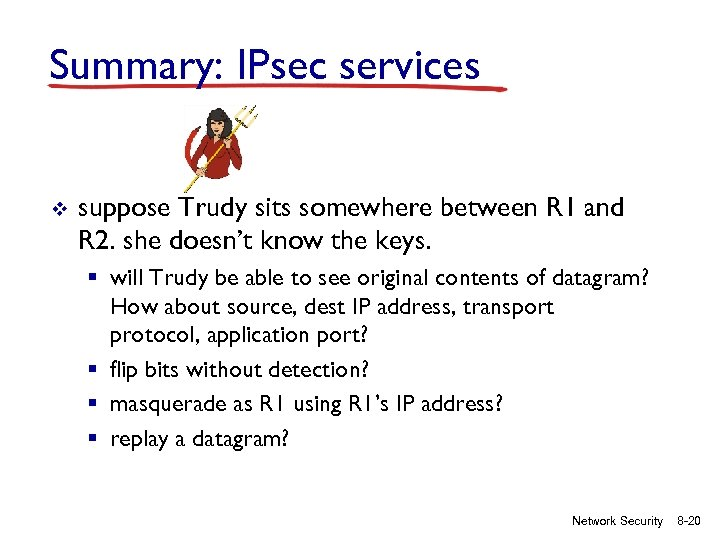 Summary: IPsec services v suppose Trudy sits somewhere between R 1 and R 2.