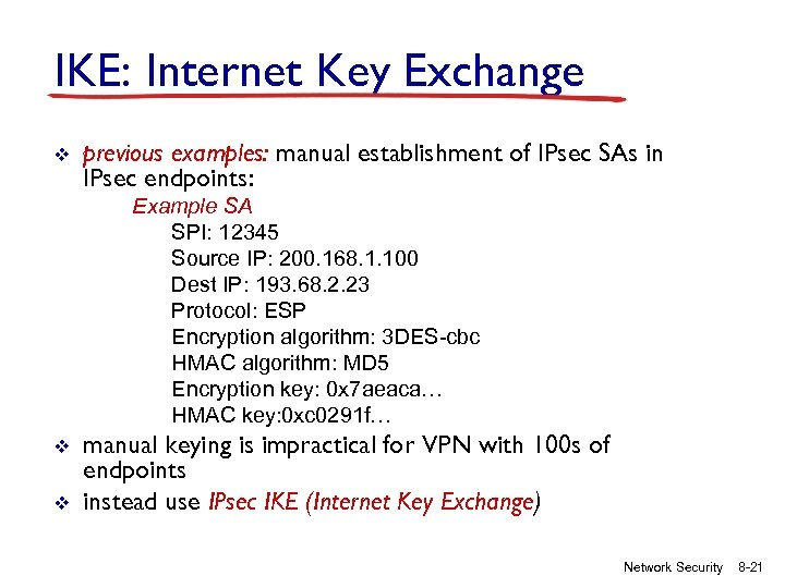 IKE: Internet Key Exchange v previous examples: manual establishment of IPsec SAs in IPsec