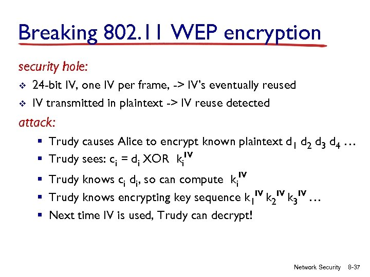 Breaking 802. 11 WEP encryption security hole: v v 24 -bit IV, one IV