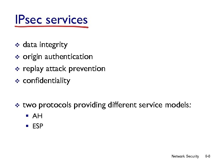 IPsec services v data integrity origin authentication replay attack prevention confidentiality v two protocols