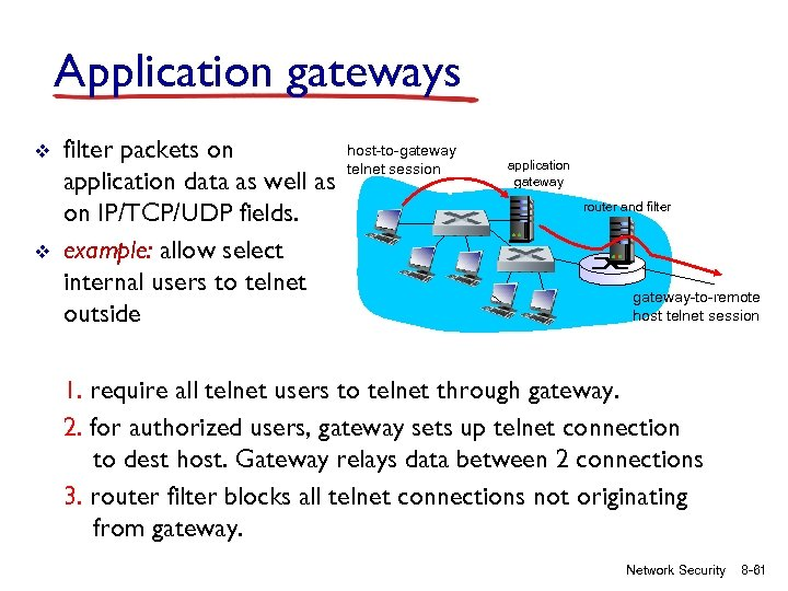 Application gateways v v filter packets on application data as well as on IP/TCP/UDP