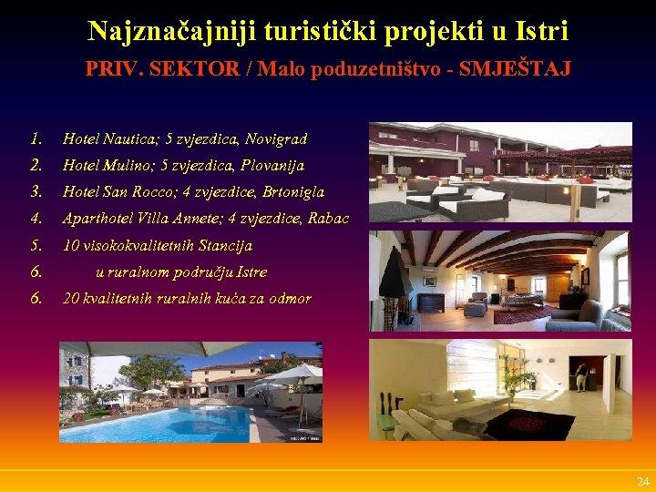 Najznačajniji turistički projekti u Istri PRIV. SEKTOR / Malo poduzetništvo - SMJEŠTAJ 1. Hotel
