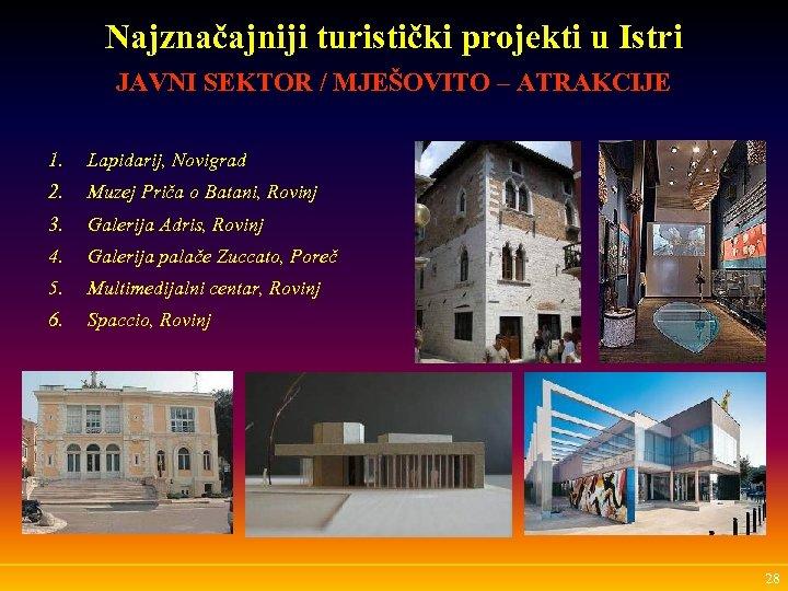 Najznačajniji turistički projekti u Istri JAVNI SEKTOR / MJEŠOVITO – ATRAKCIJE 1. Lapidarij, Novigrad