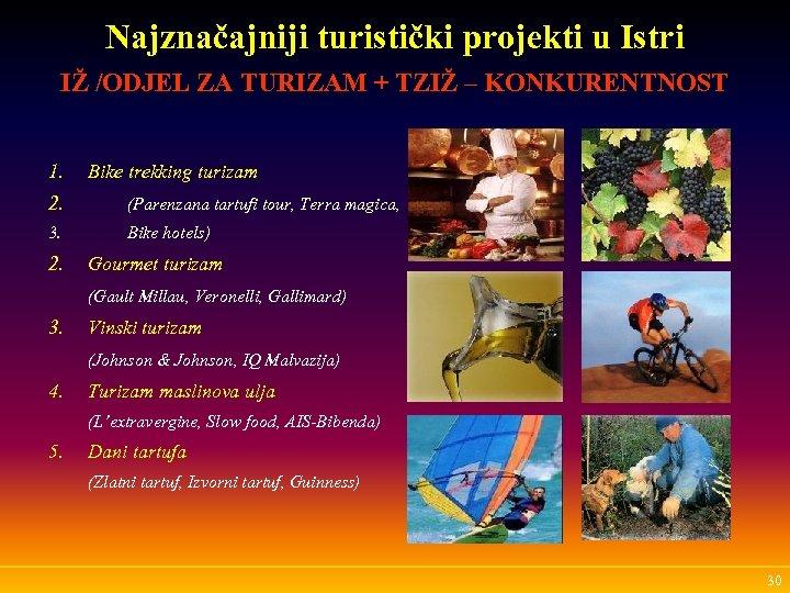 Najznačajniji turistički projekti u Istri IŽ /ODJEL ZA TURIZAM + TZIŽ – KONKURENTNOST 1.