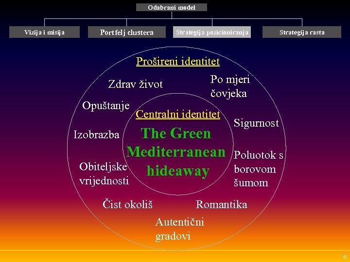 Odabrani model Vizija i misija Portfelj clustera Strategija pozicioniranja Strategija rasta Prošireni identitet Zdrav