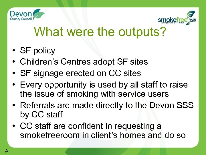 What were the outputs? • • SF policy Children's Centres adopt SF sites SF