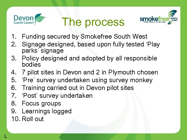 The process 1. Funding secured by Smokefree South West 2. Signage designed, based upon
