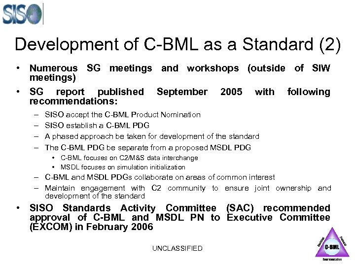 Development of C-BML as a Standard (2) • Numerous SG meetings and workshops (outside