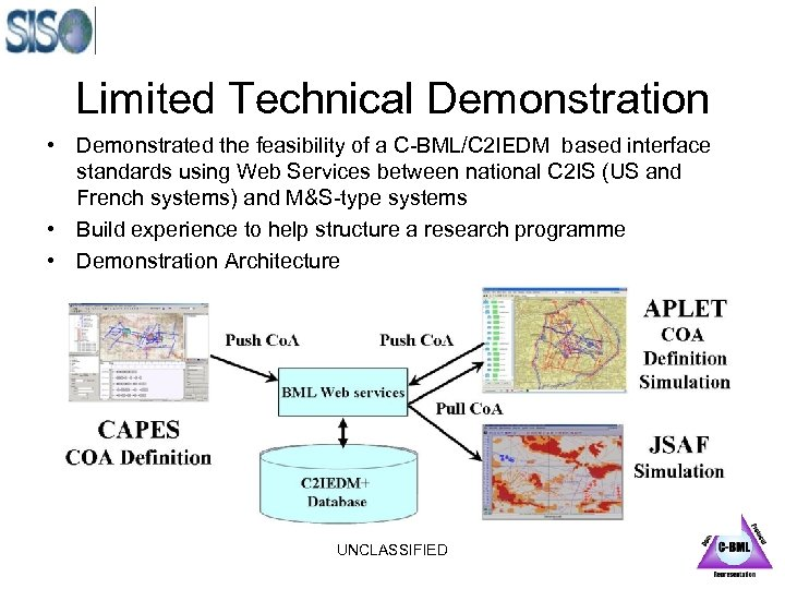 Limited Technical Demonstration • Demonstrated the feasibility of a C-BML/C 2 IEDM based interface