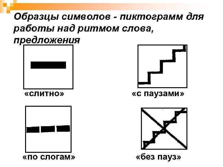 Образцы символов - пиктограмм для работы над ритмом слова, предложения «слитно» «по слогам» «с