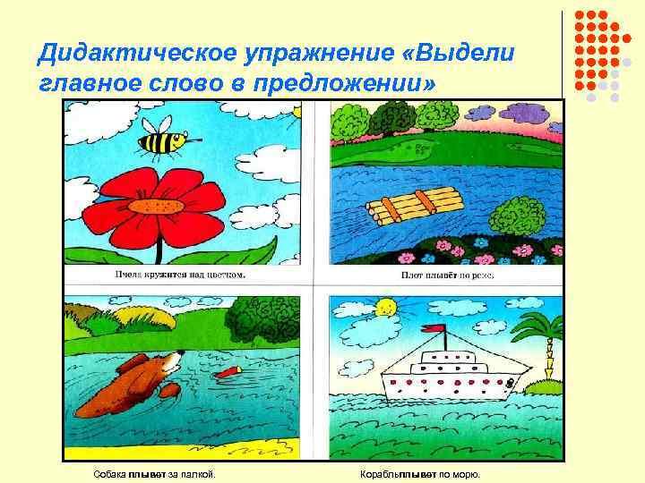 Дидактическое упражнение «Выдели главное слово в предложении» Собака плывет за палкой. Корабльплывет по морю.
