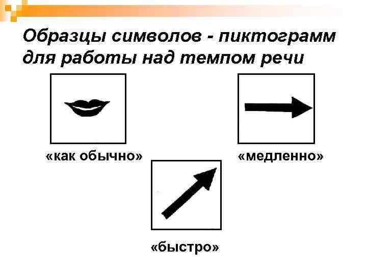 Образцы символов - пиктограмм для работы над темпом речи «как обычно» «медленно» «быстро»