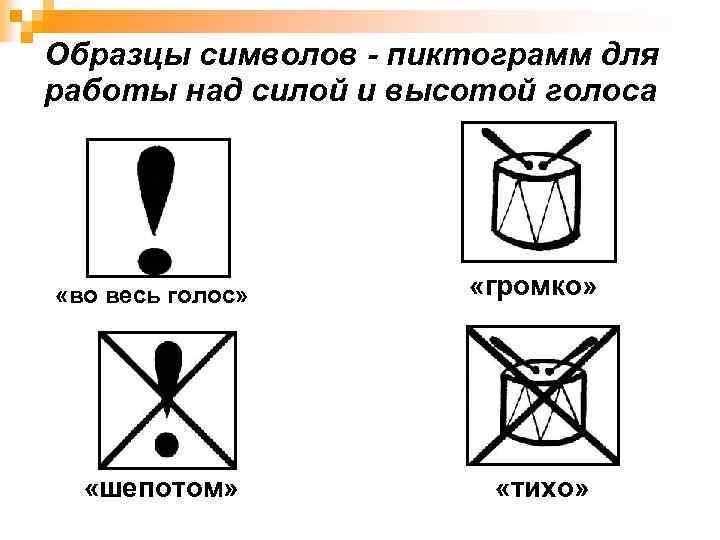 Образцы символов - пиктограмм для работы над силой и высотой голоса «во весь голос»