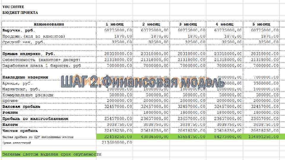ШАГ 2 Финансовая модель ШАГ 2. Финансовая модель
