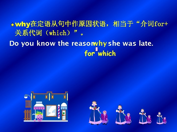 "why在定语从句中作原因状语,相当于""介词for+ 关系代词(which)""。 Do you know the reason why she was late. for which"