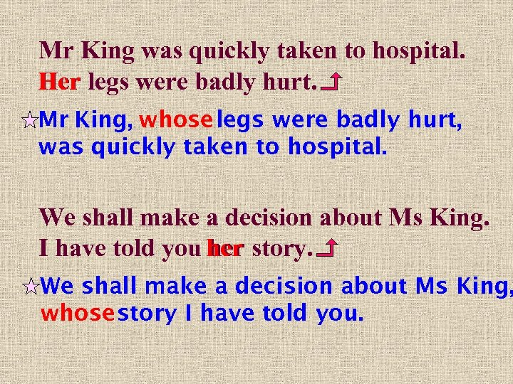 Mr King was quickly taken to hospital. Her legs were badly hurt. Mr King,