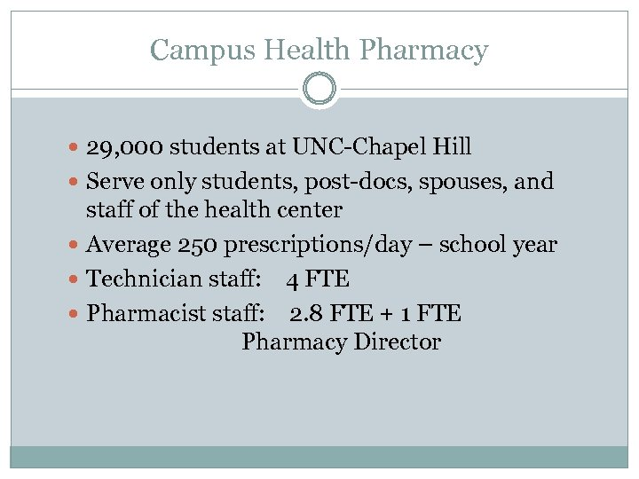 Campus Health Pharmacy 29, 000 students at UNC-Chapel Hill Serve only students, post-docs, spouses,