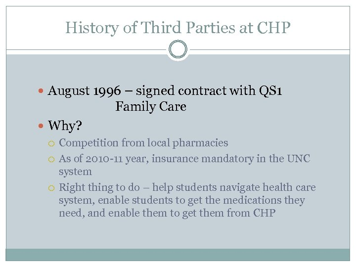 History of Third Parties at CHP August 1996 – signed contract with QS 1