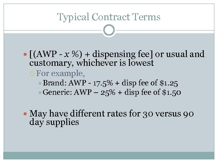 Typical Contract Terms [(AWP - x %) + dispensing fee] or usual and customary,