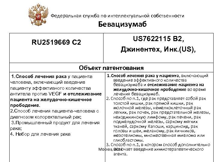 Федеральная служба по интеллектуальной собственности Бевацизумаб RU 2519669 С 2 US 7622115 B 2,