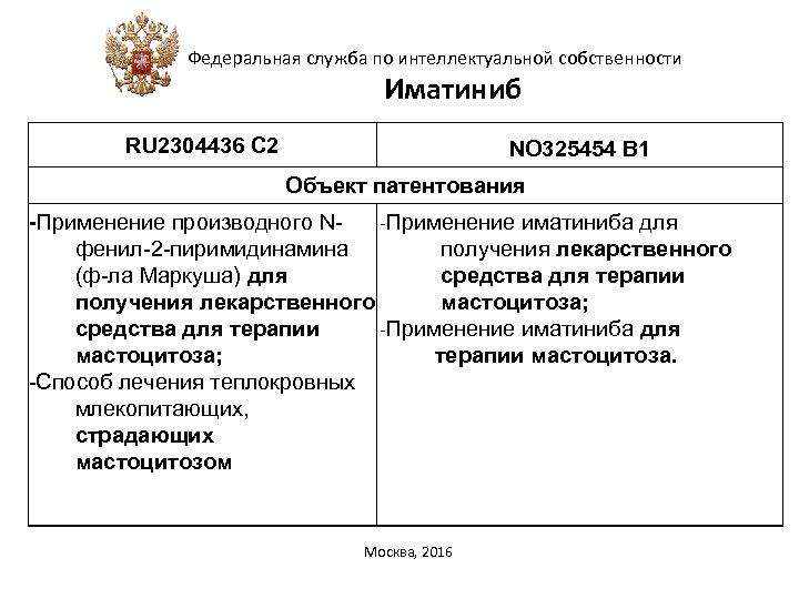 Федеральная служба по интеллектуальной собственности Иматиниб RU 2304436 C 2 NO 325454 В 1