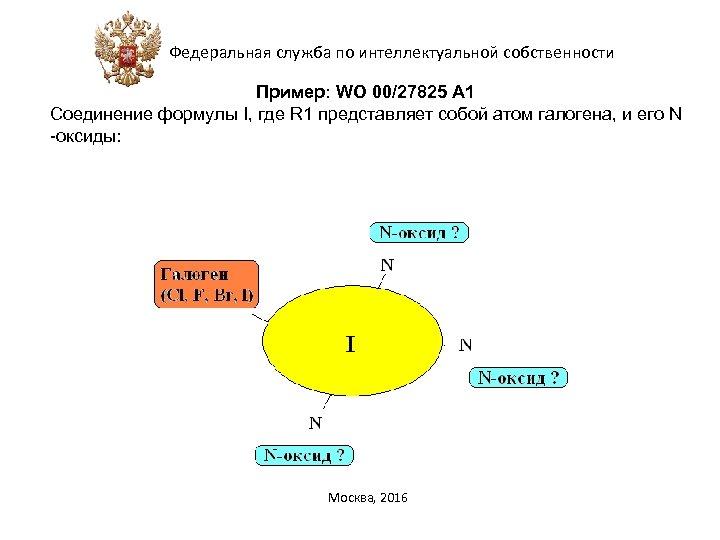 Федеральная служба по интеллектуальной собственности Пример: WO 00/27825 А 1 Соединение формулы I, где