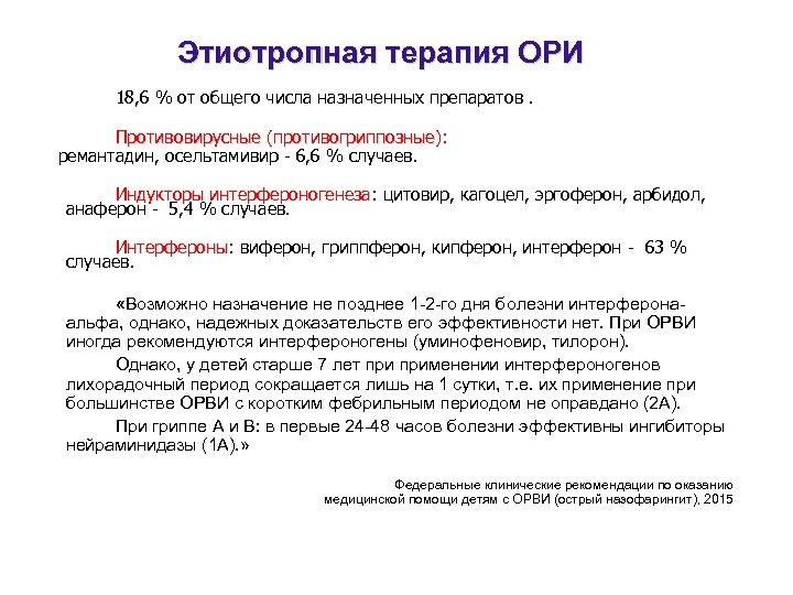 Этиотропная терапия ОРИ 18, 6 % от общего числа назначенных препаратов. Противовирусные (противогриппозные): ремантадин,