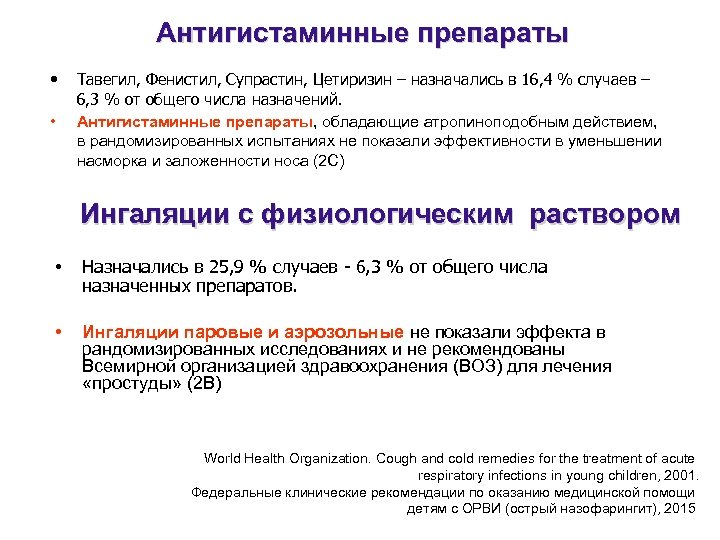 Антигистаминные препараты • • Тавегил, Фенистил, Супрастин, Цетиризин – назначались в 16, 4 %