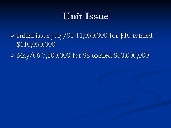 Unit Issue Initial issue July/05 11, 050, 000 for $10 totaled $110, 050, 000