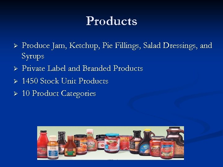 Products Ø Ø Produce Jam, Ketchup, Pie Fillings, Salad Dressings, and Syrups Private Label