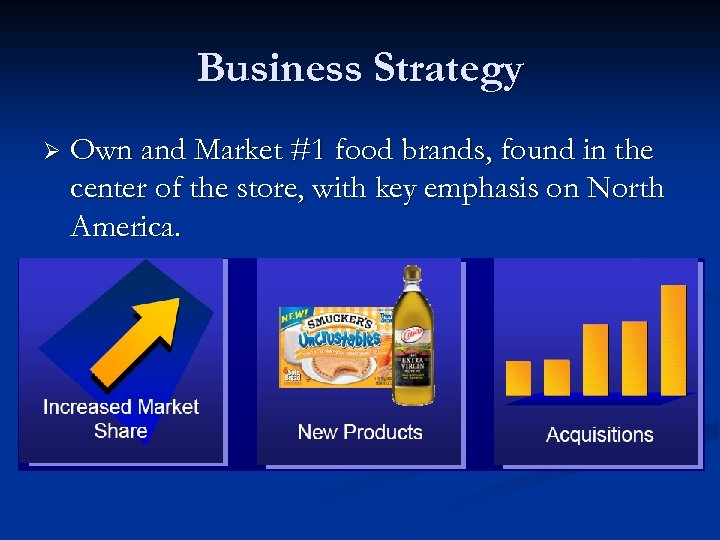 Business Strategy Ø Own and Market #1 food brands, found in the center of