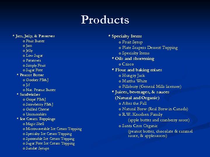 Products * Jam, Jelly, & Preserves o Fruit Butter o Jam o Jelly o