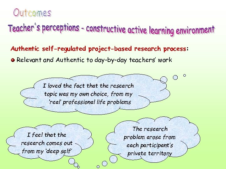 Authentic self-regulated project-based research process: Relevant and Authentic to day-by-day teachers' work I loved