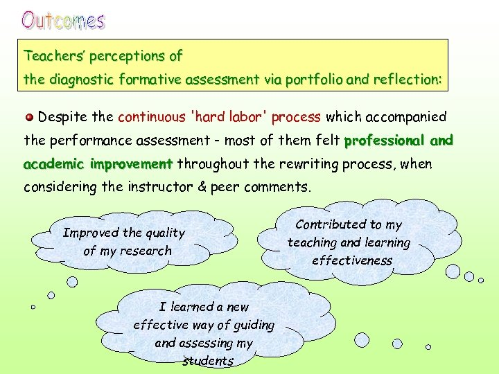 Teachers' perceptions of the diagnostic formative assessment via portfolio and reflection: Despite the continuous
