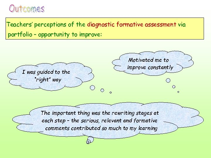Teachers' perceptions of the diagnostic formative assessment via portfolio – opportunity to improve: I