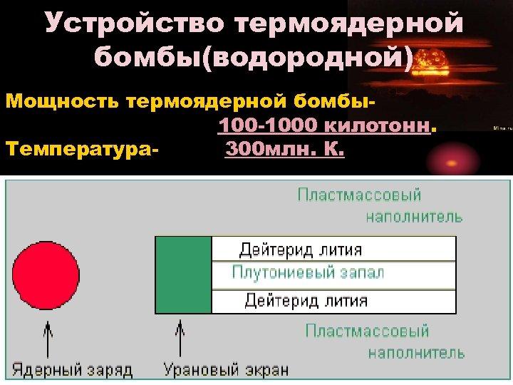Устройство термоядерной бомбы(водородной) Мощность термоядерной бомбы 1000 килотонн. Температура 300 млн. К.