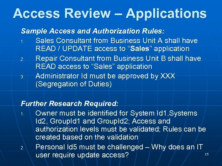 Access Review – Applications Sample Access and Authorization Rules: 1. Sales Consultant from Business