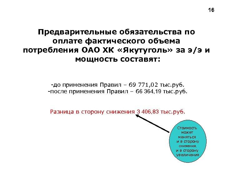16 Предварительные обязательства по оплате фактического объема потребления ОАО ХК «Якутуголь» за э/э и