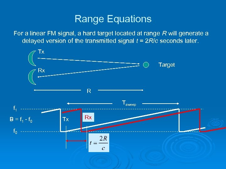 Range Equations For a linear FM signal, a hard target located at range R