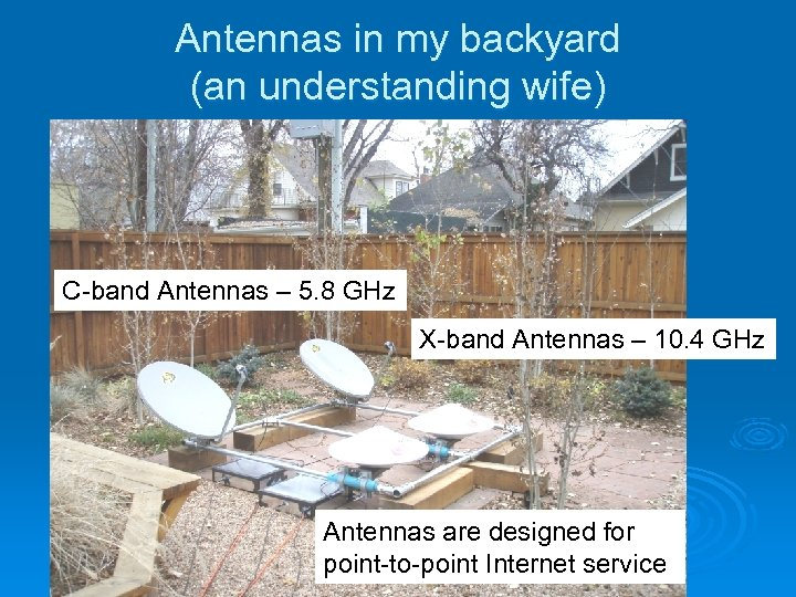 Antennas in my backyard (an understanding wife) C-band Antennas – 5. 8 GHz X-band