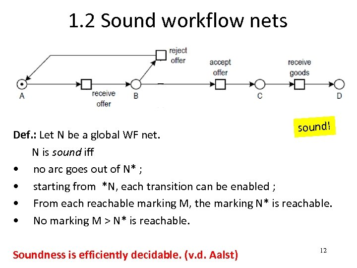1. 2 Sound workflow nets sound! Def. : Let N be a global WF