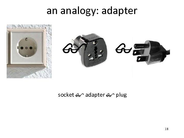 an analogy: adapter $ $ socket $ adapter $ plug 18