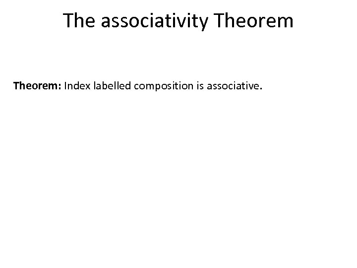 The associativity Theorem: Index labelled composition is associative.