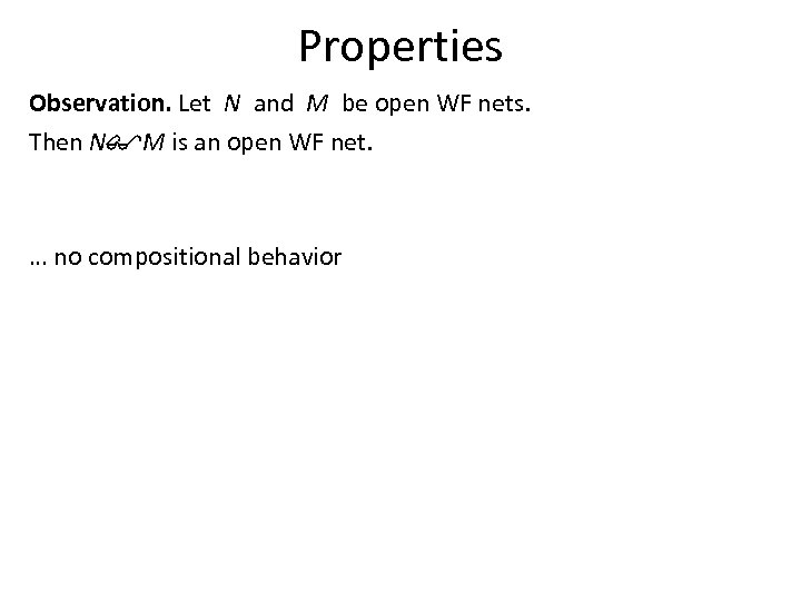 Properties Observation. Let N and M be open WF nets. Then N$M is an