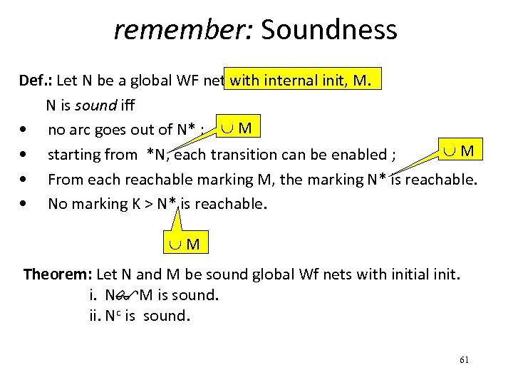 remember: Soundness Def. : Let N be a global WF net. with internal init,