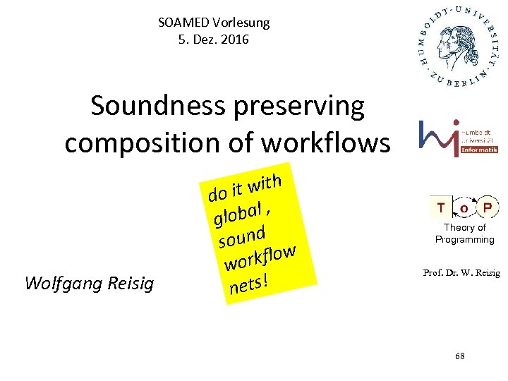 SOAMED Vorlesung 5. Dez. 2016 Soundness preserving composition of workflows Wolfgang Reisig it with