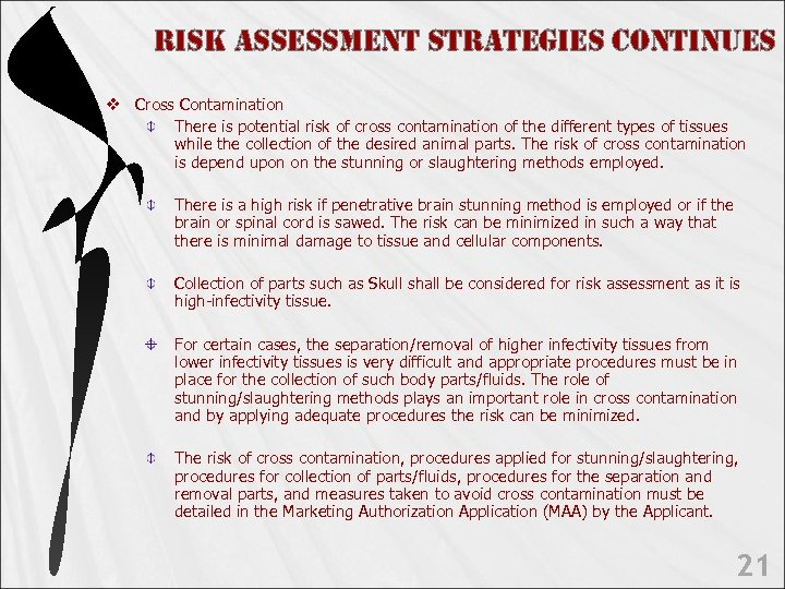 Ris. K Assess. Ment st. RAte. Gies continues v Cross Contamination There is potential